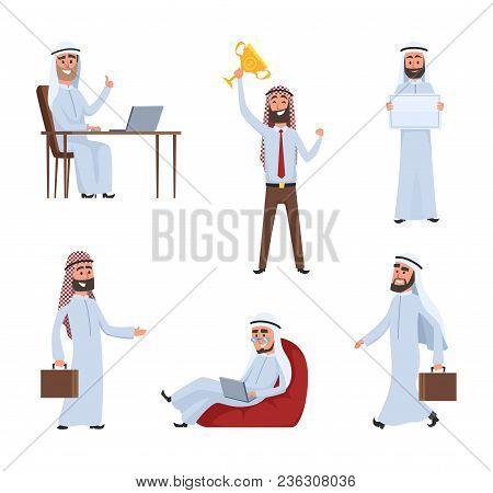 Saudi Peoples At Work. Arabic Cartoon Characters. Arabic Saudi Male People Characters Arabian Busine