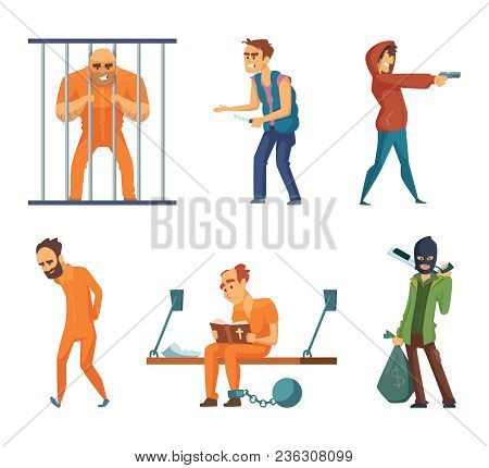 Criminals And Prisoners. Set Of Characters In Cartoon Style. Vector Criminal Man, Character Prisoner