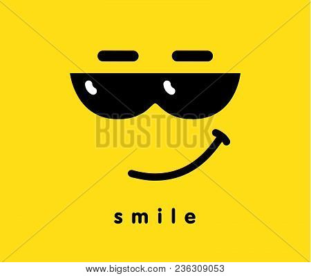 Smile With Sun Glasses Icon Emoji Template Design. Emoticon With Smiling Face Wearing Dark Sun Glass