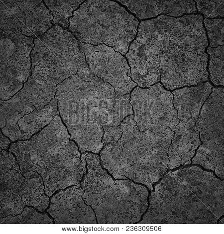 Black Dry Drought Land with Chaps as Natural Ground Background poster