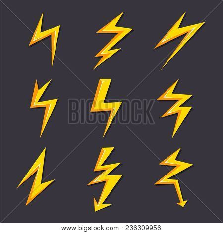 Vector Cartoon Illustrations Of Lightning Set Isolate. Stylized Pictures For Logo Design. Lightning