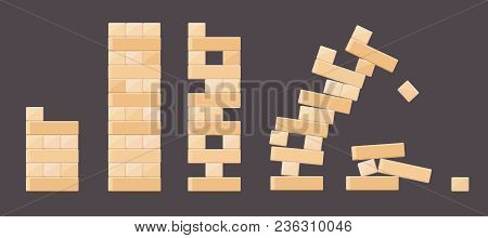 Wood Bricks Details From Tower Games For Kids. Vector Wood Brick, Build Cube Block, Toy Tower Constr