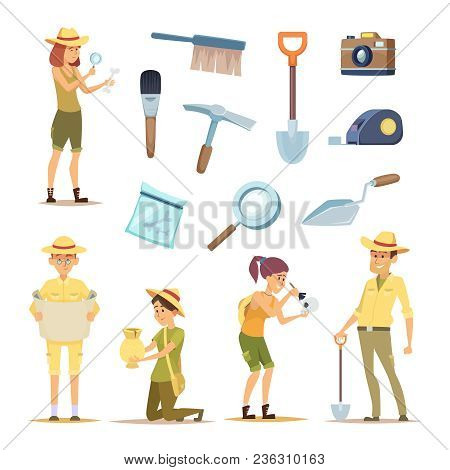 Archaeologists Characters And Various Historical Artifacts. Character Archaeologist Man, Discovery I