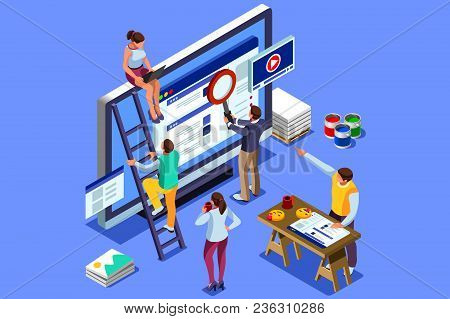 Isometric People Images To Create Seo Illustrations. Can Use For Web Banner, Infographics, Hero Imag