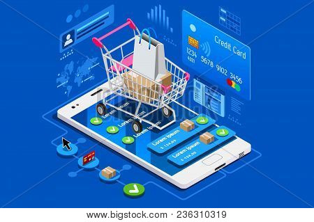 Phone Shop With Credit Card On Ecommerce Interface. Can Use For Web Banner, Infographics, Hero Image