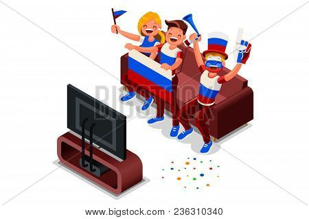 Russia  Cup Football Supporter Crowd, Cheerful Soccer Supporters With Russian Flag. Isometric People