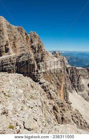 Via Ferrata Route Carved Into Rock. Brenta Dolomites, Sentiero Delle Bocchette Alte.