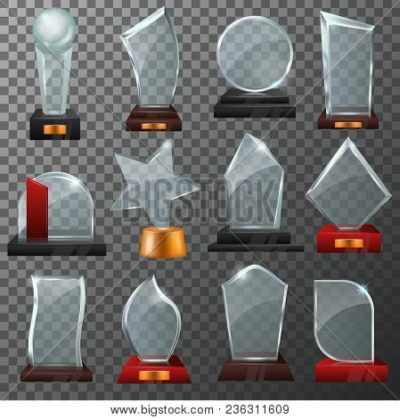 Glass Award Vector Crystal Trophy Or Award-winning Prize For Achievement Illustration Set Of Winner