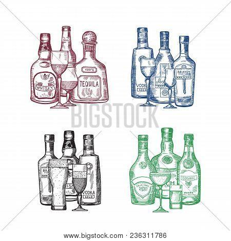 Vector Set Of Hand Drawn Alcohol Drink Bottles And Glasses Piles Illustration. Bottle Drink Alcohol