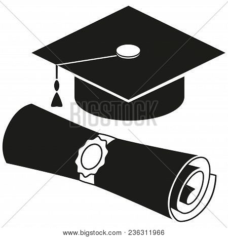 Black And White Diploma Scroll Graduation Hat Silhouette Set. Graduation Vector Illustration For Gif
