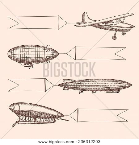 Vector Set Of Steampunk Hand Drawn Vintage Dirigibles And Air Baloons With Hanging Wide Ribbons For