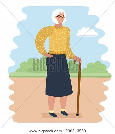 Vector Cartoon Illustration Of Elderly Woman In Park With Walking Cane. Rest And Outdoor Quiet Time.