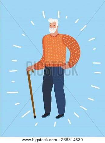 Vector Cartoon Illustration Of Old Man Character. An Elderly Man With And Walking Cane. Vector Illus