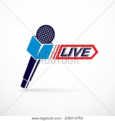 Live Reportage Conceptual Logo, Vector Illustration Created With Microphones Equipment And Live Writ