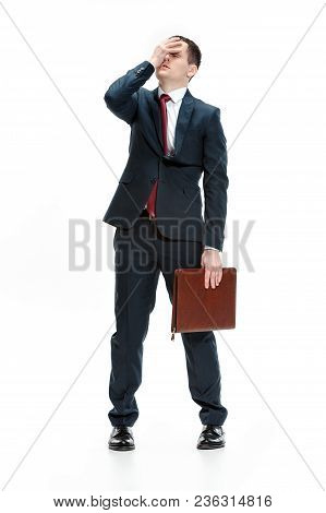 Full Body Or Full-length Portrait Of Businessman Or Diplomat With Folder On White Studio Background.