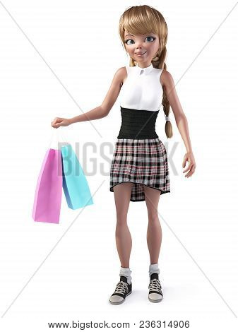 3d Rendering Of A Cute Smiling Teenage Cartoon Girl Holding Two Shopping Bags. White Background.
