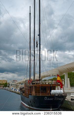 Malaga, Spain - April 10, 2018. Goleta Anne Bonny, Built In 1905, In The Port Of Malaga, Spain