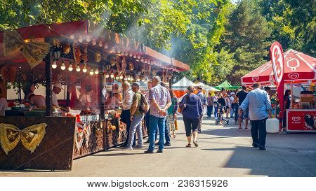 Bucharest City, Romaniaa - August 25, 2017. People Tasting Food At The Festival Of Pies, National Pa