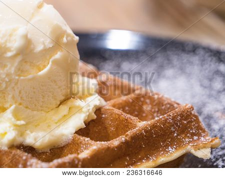 Closeup Of Waffles And Vanila Ice Cream On Dish, Dessert In The Restaurant (selective Focus)