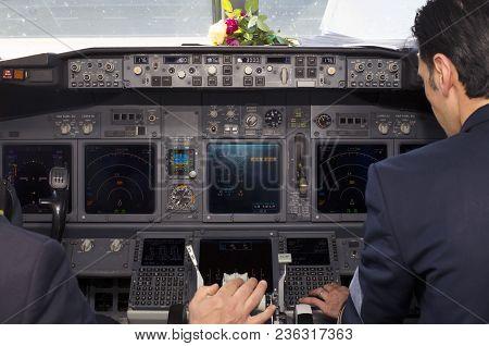 Borispol, Ukraine - April 10, 2018: Inside View Of An Iraqi Airways Boeing 737-800 Aircraft Cockpit.