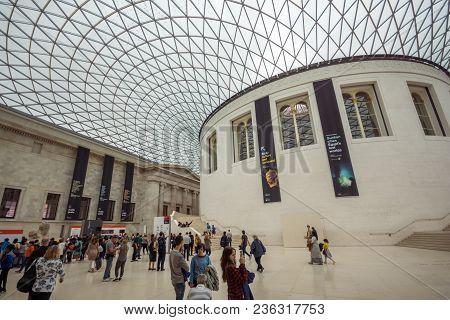 London, England - June 16 2016: Inside View Of British Museum, City Of London, England, Great Britai