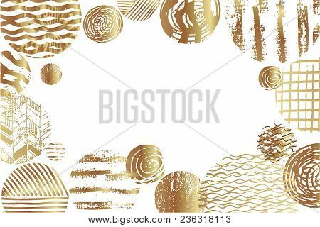 Festive  Beautiful Vector Background With Golden Elements. Vintage Decorative Texture. Hand Drawn As