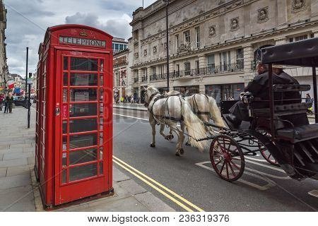 London, England - June 16 2016: Street Near Piccadilly Circus, City Of London, England, Great Britai