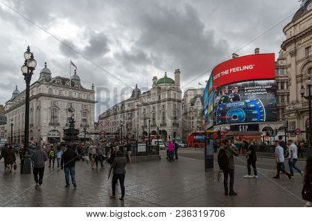 London, England - June 16 2016: Piccadilly Circus, City Of London, England, Great Britain