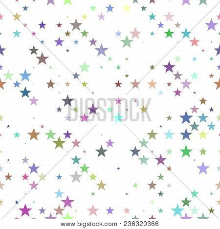 Multicolored Seamless Pentagram Star Pattern Background - Vector Design