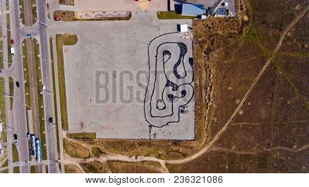 Aerial Top View Of The Go-kart Track.