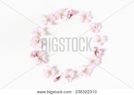 Styled Stock Photo. Spring, Easter Feminine Scene Floral Composition. Round Frame Wreath Pattern Mad