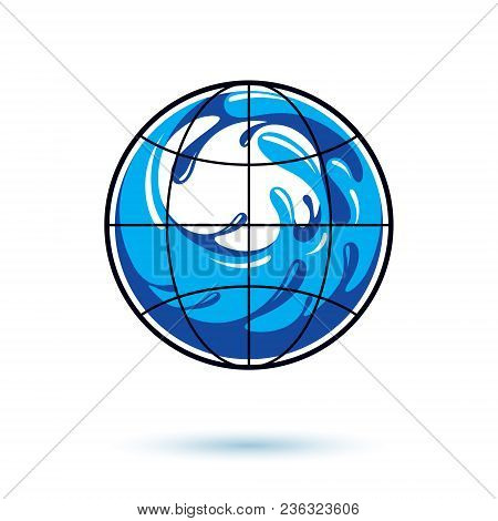 Global Water Circulation Vector Logotype For Use In Spa And Resort Organizations. Environment Protec