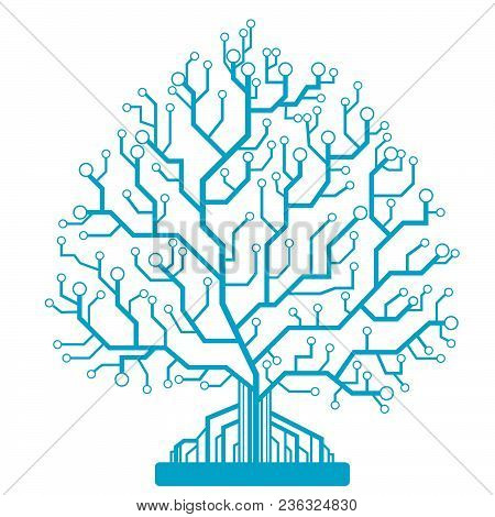 Abstract Tree, Circuit Board, Icon.vector Illustration Eps10
