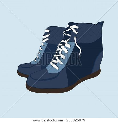 Vector Illustration Of Hand Drawn Colorful Women Footwear In Isometric Style. Shoes Casual And Sport
