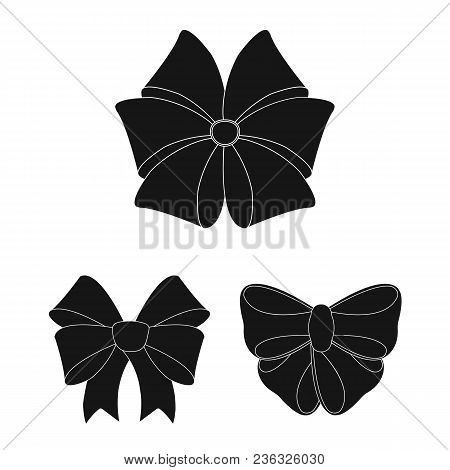 Multicolored Bows Black Icons In Set Collection For Design.bow For Decoration Vector Symbol Stock  I