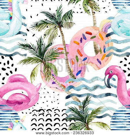 Watercolor Seamless Pattern With Cartoon Pool Floats, Palm Trees In Minimal Style. Water Color Flami