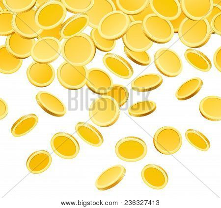 Falling Golden Coins. Gold Coin Money Fall Isolated On White Background, Dollars Or Pennies Rain Vec