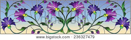 Illustration In Stained Glass Style With Abstract Blue Flowers On A Blue  Background,horizontal Orie