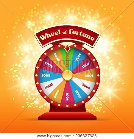 Spinning Wheel Or Game Wheel. Turning Wheel Of Luck Or Lucky Money Chance Symbol Vector Illustration