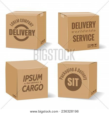 Delivery Cardboard Boxes. Vector Warehouse Packaging Brown Boxes With Delivery Company Logo Isolated