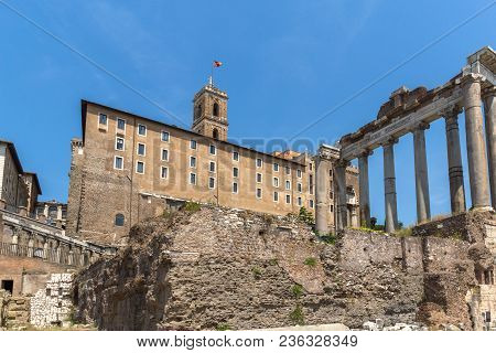 Rome, Italy - June 24, 2017: Capitoline Hill, Temple Of Saturn And Capitoline Hill In City Of Rome,