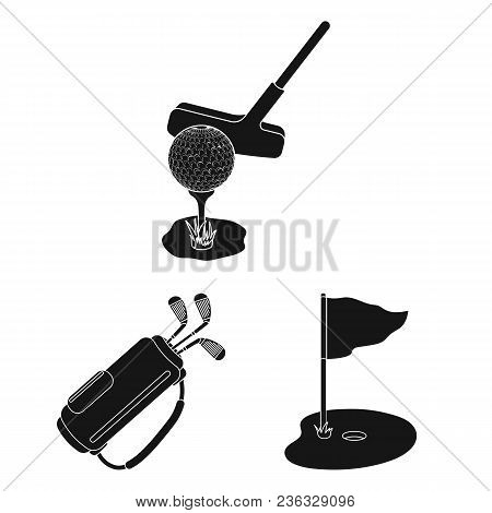Golf And Attributes Black Icons In Set Collection For Design.golf Club And Equipment Vector Symbol S