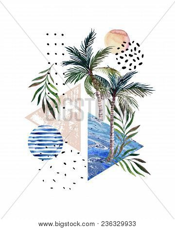 Abstract Poster: Watercolor Palm Trees, Leaves, Marbling Triangles. Hand Drawn Geometrical, Tropical