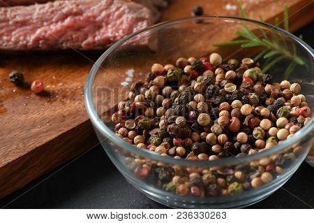 Peppercorn In Glass Bowl For Make Beef Steak, Ingredient Of Food Concept