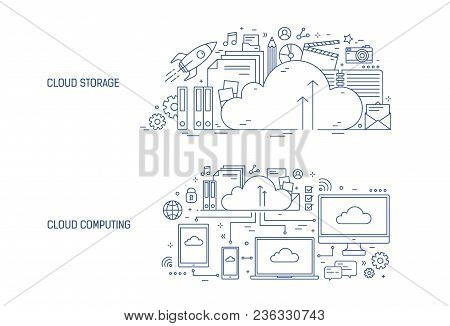 Bundle Of Horizontal Banner Templates With Electronic Devices Connected To Online Data Storage And O