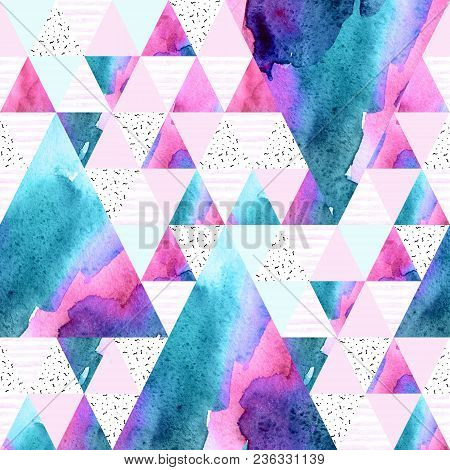 Abstract Geometric Watercolor Seamless Pattern. Triangles With Watercolor Paper Textures. Geometrica