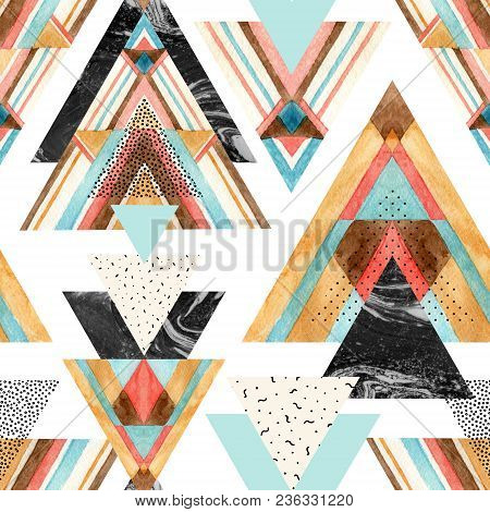 Abstract Watercolor Geometric Seamless Pattern. Triangles With Aztec Ornament, Watercolor, Doodle, B