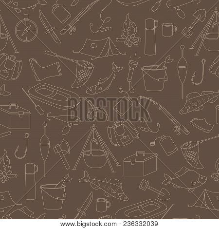 Seamless Pattern On The Theme Of Fishing, A Simple Hand-drawn Beige Outline On A Brown Background