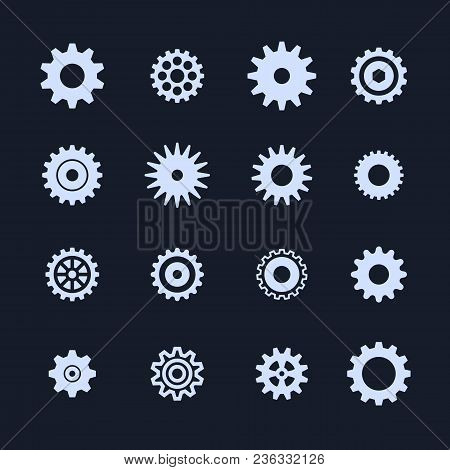 Cogs Symbol Set On White Background, Settings Icon, Vector Illustration