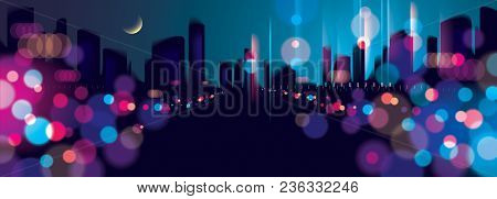 Wide Panorama Blurred Street Lights, Urban Abstract Background. Effect Vector Beautiful Background.
